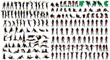 Ragazze sexy nude e uomini silhouette set. Molto liscia e dettagliata con l'acconciatura di colore. Illustrazione vettoriale. Archivio Fotografico - 45575004