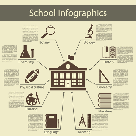 vector: School infographics with school building and symbol of different education subject.  Elegant flat design style. Vector Illustration. Illustration