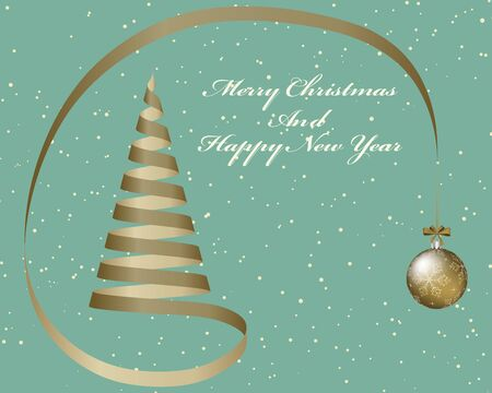 christmas postcard: Elegant Christmas greeting card with fir tree from ribbon and hanged fir toy ball in retro colors.  Also suitable for New Year cute design. Vector illustration.
