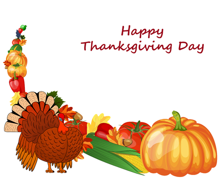 white grape: Thanksgiving day greeting card. Design consist from pumpkin, pepper, tomato, apple, grape, corn, oak leaves, acorns and turkey  on white background.  Very cute and warm colors. Vector illustration.