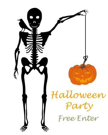 ahorcada: Halloween greeting (invitation) card. Elegant design with skeleton holding hanged pumpkin in hand and raven sitting on his shoulder over white background. Vector illustration. Vectores