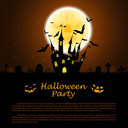 haunt: Halloween greeting (invitation) card. Elegant design with castle near cemetery, flying bats and moon  over grunge dark brown starry sky background. Vector illustration. Illustration