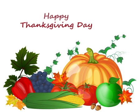 white grape: Thanksgiving day greeting card. Design consist from pumpkin, pepper, tomato, apple, grape, corn, maple leaves and oak acorns on white background.  Very cute and warm colors. Vector illustration. Illustration