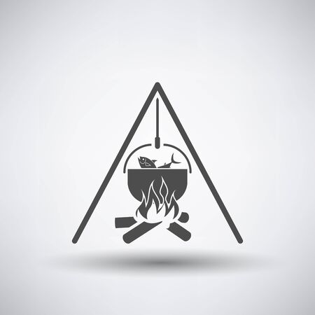 pots: Fishing icon with fire and pot over gray background. Vector illustration. Illustration