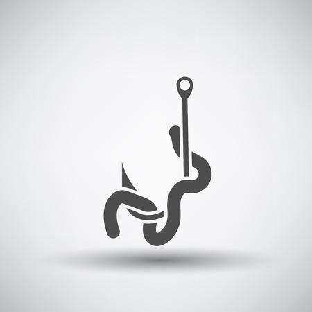 lombriz de tierra: icono de la pesca con el gusano en el gancho sobre fondo gris. Ilustración del vector.