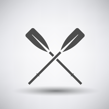 Fishing icon with boat oars over gray background. Vector illustration. Çizim
