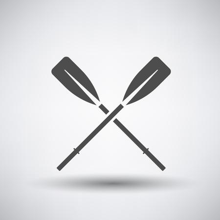 barche: Icona con i remi in barca da pesca su sfondo grigio. Illustrazione vettoriale.
