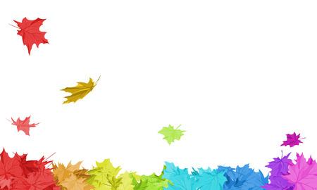 落下のメープルと秋のフレームの白い背景の上で虹色葉します。本文スペースと理想的なバランスのとれた色とエレガントなデザイン。ベクトルの