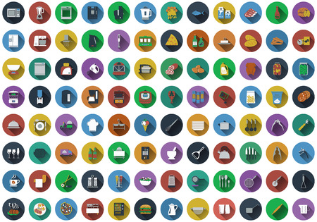 Big set of circle flat design icons with restaurant , kitchen and utensils symbols.  Vector illustration.