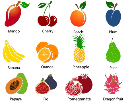 Set of cute fruit icons with title over white background. Vector illustration.