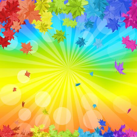 balanced: Autumn  frame with falling  maple leaves in rainbow colors and sun beams over rainbow background. Elegant design with ideal balanced colors. Vector illustration. Illustration