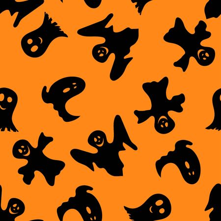 poltergeist: Halloween holiday seamless pattern with smiling ghosts over orange background for creating Halloween designs.  Vector illustration. Illustration