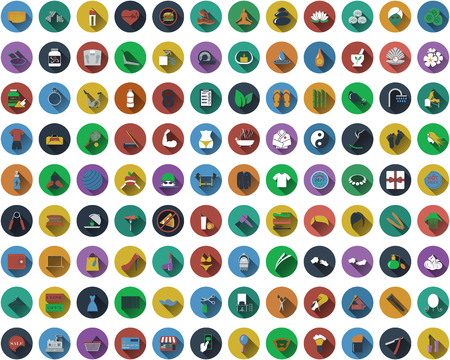 Big set of circle flat design icons with fitness, beauty, shopping, spa  and barber  symbols.  Vector illustration.