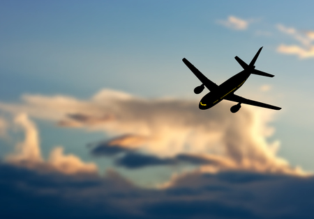 sunset sky: Passenger jet airplane silhouette in blurred sunset sky. Vector illustration.