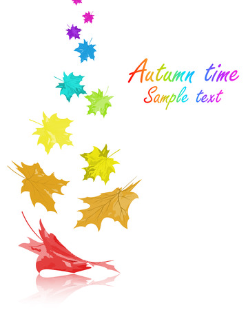 text space: Autumn  frame with falling  maple leaves in rainbow colors on white background. Elegant design with text space and ideal balanced colors. Vector illustration.