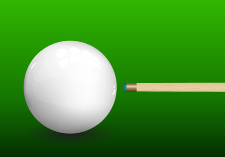 snooker: Billiard (snooker) ball with aiming cue on green background. Vector illustration. Illustration