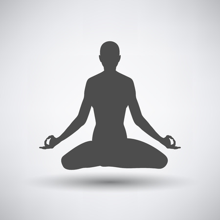 pose: Lotus pose icon over grey background. Vector illustration.