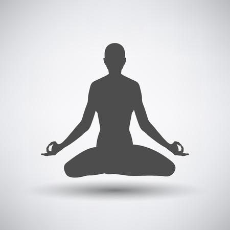 lotus pose: Lotus pose icon over grey background. Vector illustration.