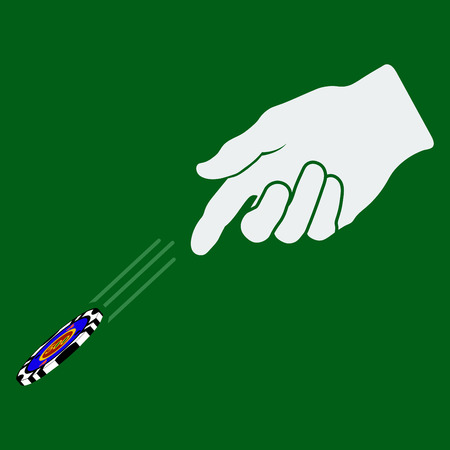 atma: Hand throwing gambling chip over green background. Vector illustration. Çizim