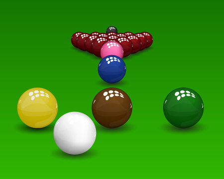 snooker: Snooker pyramid  shiny balls on green background. Vector illustration.