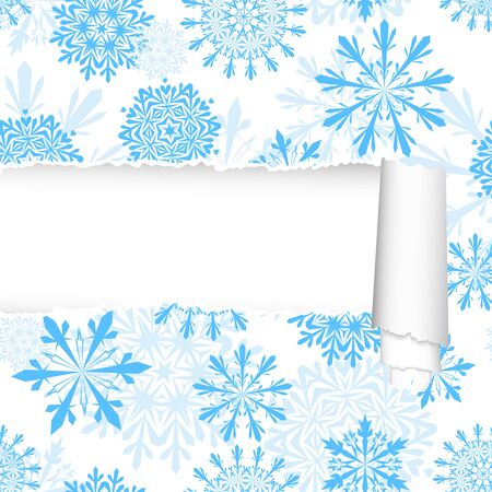 ripped: Snowflakes pattern with ripped torn paper stripe. Vector illustration.