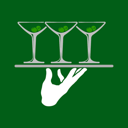 concierge: Waiter hands holding tray with martini glasses icon over green background. Vector illustration. Illustration