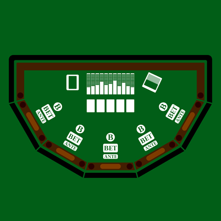 sitting at table: Poker table icon over green background. Vector illustration.