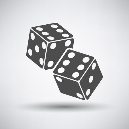 cubos de dados icono sobre fondo gris. Ilustración del vector.