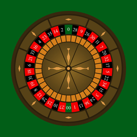 roulette online: Roulette wheel icon over green background. Vector illustration. Illustration