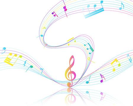 pentagrama musical: Multicolor Diseño Musical De Elementos personal de la música Con Clave de sol y notas con espacio de copia.