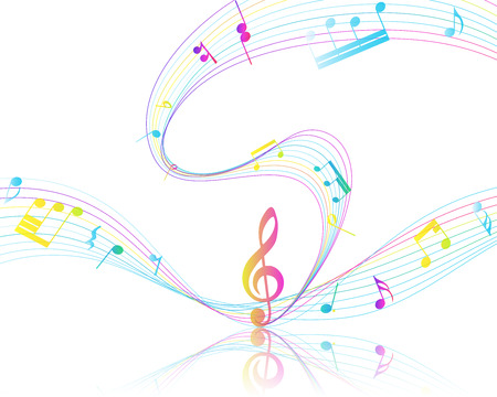 staff: Multicolor Musical Design From Music Staff Elements With Treble Clef And Notes With Copy Space. Illustration