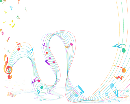 music staff: Multicolor Musical Design From Music Staff Elements With Treble Clef And Notes With Copy Space. Illustration