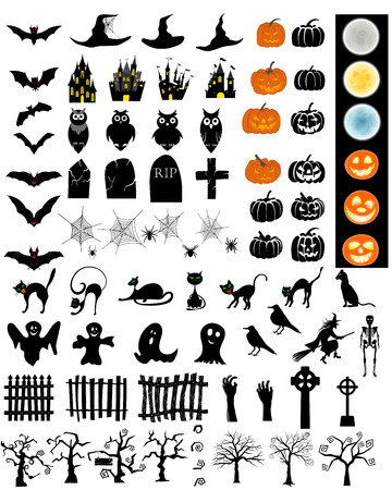 Halloween Holiday Elements Set. 版權商用圖片 - 46197209