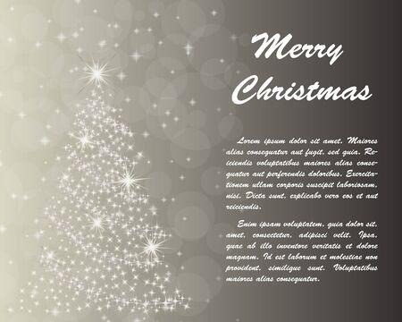 navidad elegante: tarjeta de felicitación elegante de Navidad con copos de nieve y árbol de abeto en él.