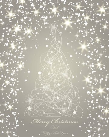 ribbon: Elegant Christmas greeting card with snowflakes and fir tree on it.