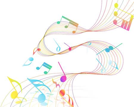 pentagrama musical: Multicolor Diseño Musical De Elementos personal de la música Con Clave de sol y notas con espacio de copia. Diseño elegante creativo aislado en blanco. Ilustración del vector.