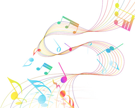 music staff: Multicolor Musical Design From Music Staff Elements With Treble Clef And Notes With Copy Space. Elegant Creative Design Isolated on White. Vector Illustration.