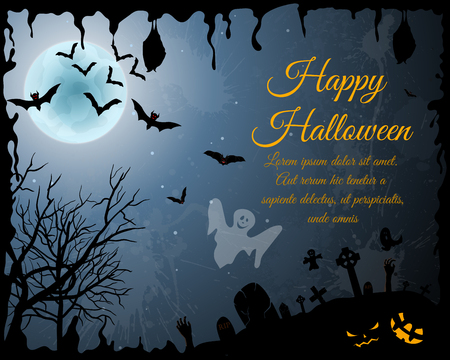 grunge background: Happy Halloween Greeting Card.
