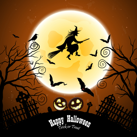 witch: Happy Halloween Greeting Card. Elegant Design With Bats, Owl, Grave, Cemetery, Fence, Moon, Tree and Witch Over Grunge Dark Blue Starry Sky Background. Vector illustration.