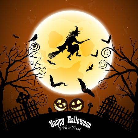 czarownica: Happy Halloween karty z pozdrowieniami. Elegancki design z nietoperzy, Sowa, grób, cmentarz, ogrodzenia, Księżyc, Drzewo i Witch nad grunge Dark Blue Starry Sky Kontekst. ilustracji wektorowych.