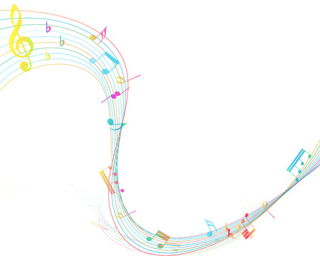 music staff: Multicolor Musical Design From Music Staff Elements With Treble Clef And Notes With Copy Space.