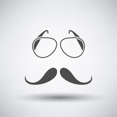 Glasses and mustache icon on gray background with round shadow.  Illustration