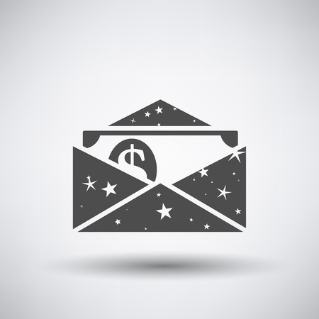 Birthday gift envelop icon with money   on gray background with round shadow.  Иллюстрация