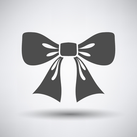 black bow: Party bow icon on gray background with round shadow.