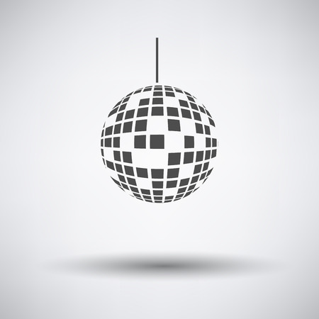 sphere icon: Party disco sphere icon on gray background with round shadow.