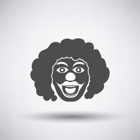 birthday clown: Party clown face icon on gray background with round shadow.  Illustration