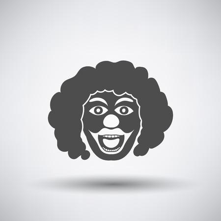 clowngesicht: Party-Clown-Gesicht-Symbol auf grauem Hintergrund mit rund schatten. Illustration