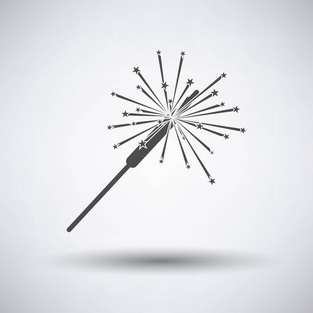Party sparkler icon on gray background with round shadow.