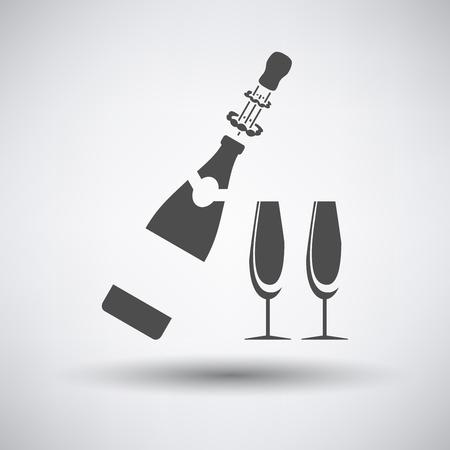 Partij champagne en glas pictogram op grijze achtergrond met ronde schaduw.