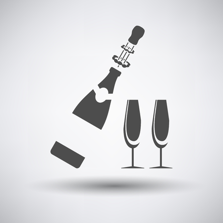 glass bottle: Party champagne and glass icon on gray background with round shadow.
